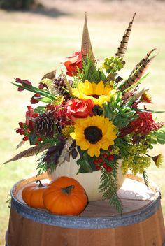 pumpkin arrangement on barrel