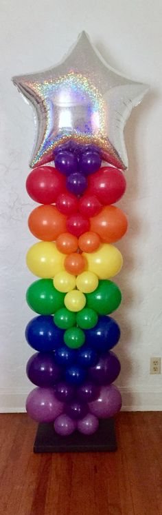 Rainbow Balloon Column with super sparkly Holographic Star topper!
