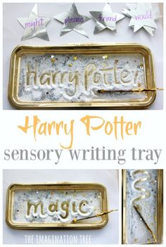 Create a Harry Potter sensory writing tray to practise spellings, sight words and letter learning in a fun, tactile and magical way for kids of all ages! Harry Potter School, Harry Potter Classroom, Harry Potter Theme, Harry Potter Diy, Spelling Activities, Preschool Activities, Indoor Activities, Colour Activities, Spelling Games