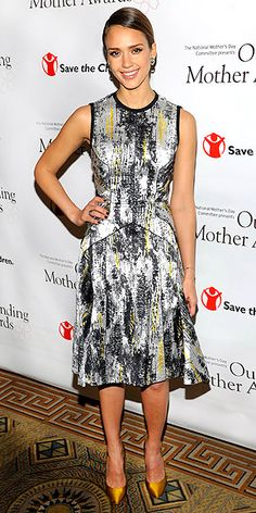 JESSICA ALBA  The star attends the Outstanding Mothers Awards in N.Y.C. looking like quite the outstanding (and stylish) mother herself in a Narcisco Rodriguez printed dress, Joan Hornig earrings and a Meus Designs ring.
