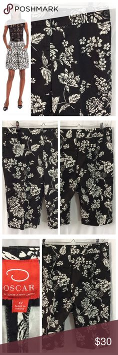 """🔴🔴🔴RED DOT SALE 3/$20 Oscar del la Renta Shorts - Gorgeous black and white floral shorts by Oscar de la Renta. Sleek flat front with hidden hook and zip closure; side slit pockets, clean pocket-free back. Subtle black button embellishments on both hips. Fabric tag removed, crisp cotton with slight stretch. Size 12; 17.5"""" waist; long 14"""" inseam. Good used condition. Oscar de la Renta Shorts"""