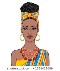 Imagens, fotos stock e vetores similares de Animation portrait of the young beautiful African woman. Vector illustration isolated on a white background. Print, poster, t-shirt, card. Black Girl Art, Black Women Art, Black Art, African Artwork, African Art Paintings, Beautiful African Women, Beautiful Black Women, African Beauty, Arte Black