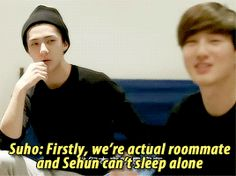 EXO's Second Box : The reason why Sehun and Suho chose to stay in the same room Baekhyun, Exo Facts, Sleeping Alone, Exo Memes, Kpop Exo, Cant Sleep, Funny Tumblr Posts, Shinee, Boy Groups