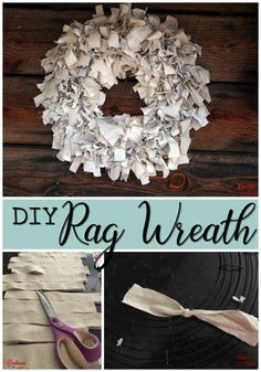 DIY Rag Wreath : Make a beautiful rag wreath by cutting fabric into strips and tying it around a metal wreath form! Get the full step-by-step tutorial showing how! Wreath Crafts, Diy Wreath, Tulle Wreath, Wreath Making, Diy Crafts, Deco Mesh Wreaths, Rag Wreaths, Ribbon Wreaths, Door Wreaths