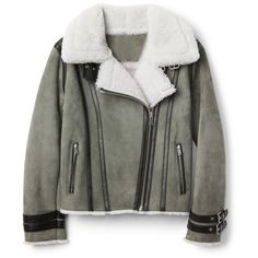 Suede shearling jacket (2.520 RON) ❤ liked on Polyvore featuring outerwear, jackets, suede jackets, suede leather jacket, shearling jacket, suede shearling jacket and sheep fur jacket