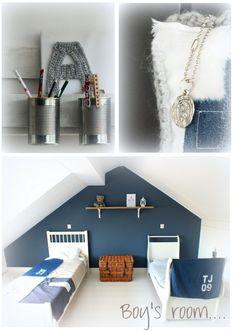 Mooie kleurstelling, wit met donkerblauw