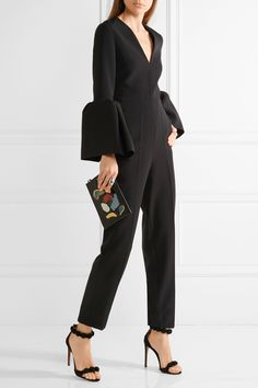 Black crepe Concealed hook and zip fastening at back 62% polyester, 23% silk, 11% viscose, 4% elastane; lining: 100% silk Dry clean Made in the UK