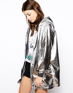 The Ragged Priest | The Ragged Priest Hologram Metalic Hooded Rain Coat at ASOS