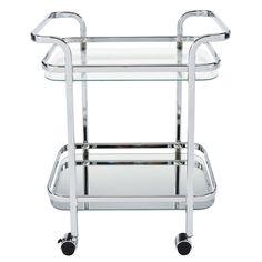 Worldwide Zedd Silvertone/Clear Metal (Grey)/Glass 2-tier Trolley (Zedd-2-Tier Trolley-Chrome)