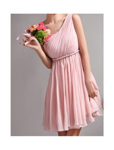 i want 2 shoulder not one but its a cute dress! chiffon bridesmaid dress