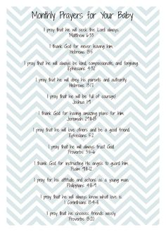 Twelve prayers to pray over your baby. One for each month of the baby's first year. by BrenRen