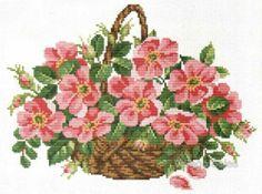 Ellen Maurer-Stroh Counted Cross Stitch Chart Pattern ~ WILD ROSES BASKET #083