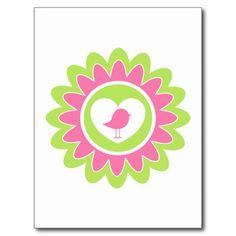 Valentine Bird Flower Heart Postcard