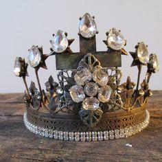 Crown distressed metal embellished rhinestone tiara French vintage inspired statue and home decor anita spero design