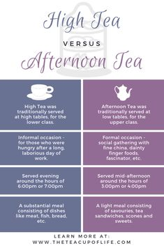 High Tea and Afternoon Tea: Do You Know The Difference? - - High Tea and Afternoon Tea are often misunderstood and confused for one another. However, these two tea services are not equal. Masala Chai, Clotted Cream, Wine Wednesday, Tea Etiquette, Afternoon Tea Parties, High Tea Parties, Afternoon Tea Menu Ideas, Royal Tea, Cream Tea