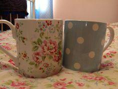 Cath Kidston Mug Set Two Floral Vintage Shabby Chic Rose Polka Dot White Blue