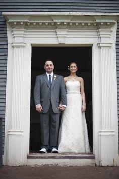 bride groom in doorway