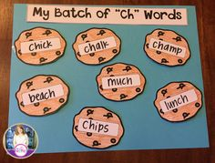 """My Batch of Ch Words."" Students write ""ch"" words on the chocolate chip cookies. Digraph craftivities."