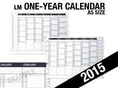 2015-1yr Calendar /A5 - Inserts Refills Filofax Binder Collins by DIYfish on Etsy https://www.etsy.com/listing/204577217/2015-1yr-calendar-a5-inserts-refills