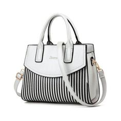 Letter Embossed Striped PU Leather Handbag (45 CAD) ❤ liked on Polyvore featuring bags, handbags, shoulder bags, hand bags, striped handbags, stripe purse, embossed purse and white shoulder handbags