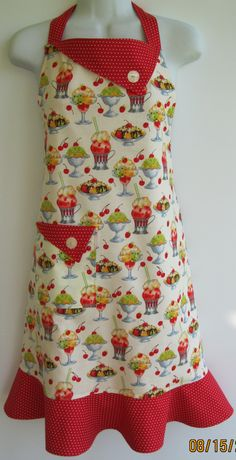 Handmade, Retro style, One size fits all apron, Lined apron by ApronEcstasySewing on Etsy