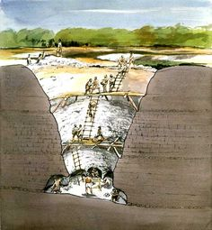 Cutaway Section through Grime's Graves, Neolithic Flint Mine, Norfolk, 1987. Artist: Terry Ball