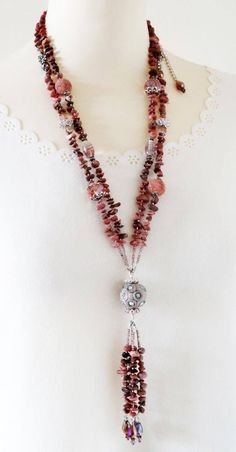 Pink Necklace Long Gemstone Necklace Long Pink Gemstone