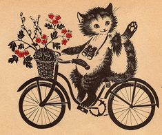 Illustration from 'Where have you been?' by Margaret Wise Brown. Published in 1952 by Scholastic in the USA. The pictures are by Barbara Cooney. Neko, Barbara Cooney, Margaret Wise Brown, Bike Illustration, Dancing Cat, Curious Cat, Chef D Oeuvre, Cat Cards, Street Art