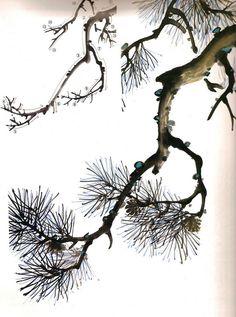 Korean Painting, Chinese Painting, Chinese Art, Japan Painting, Painting & Drawing, Tree Silhouette Tattoo, Pine Tree Art, Japanese Tree, Ink In Water