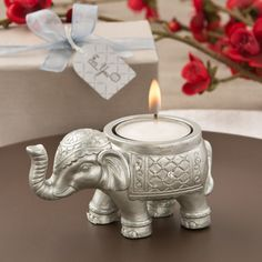 Buy FashionCraft Good Luck Silver Indian Elephant Candle Holder and other party favors and personalized gifts. Indian Wedding Favors, Wedding Gifts For Guests, Wedding Favours, Indian Weddings, Party Favors, Silver Candle Holders, Candle Holders Wedding, Tea Light Candles, Tea Lights