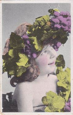 ON SALE Edwardian Little Girl with Grapevine Wreath in Hair...early 1900s