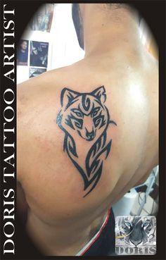 wolf tribal tattoo design