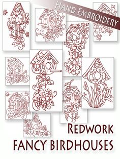 Hand Embroidery Patterns  Redwork Designs  door StitchXEmbroidery