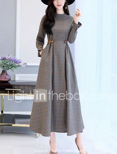 Women's Party Going out Simple Slim Swing Dress Check Patchwork Stand Maxi Long Sleeves Cotton Polyester Fall Winter High Waist 2017 - €22.04