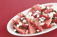 Watermelon and feta salad. You have no idea how good this is! Try it with your fave oil-based dressing.