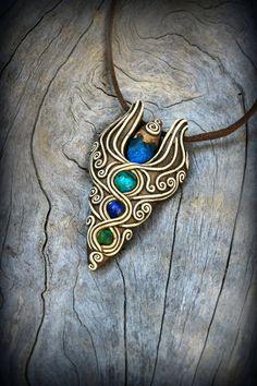 Bohemian elvish gemstones pendants Blue Kyanite Jasper Chrysocolla Lapis gems spirit elven forest fairy tales