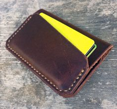 Leather wallet Handmade 3 pocket wallet Brown by Wallingandsons