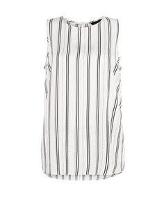 White Stripe Split Side Sleeveless Top  | New Look
