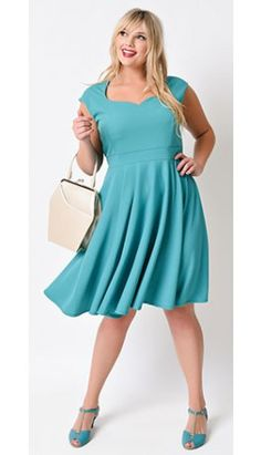 Plus Size Retro Style Teal Cap Sleeve Stretch Knit Fit & Flare Dress