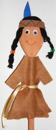 Wooden Spoon Native American Puppet http://www.activityvillage.co.uk/native-american-crafts
