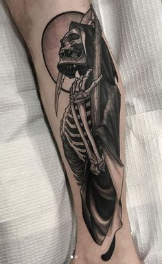 110 Unique Grim Reaper Tattoos You'll Need to See - Tattoo Me Now Wicked Tattoos, Dope Tattoos, Badass Tattoos, Skull Tattoos, Black Tattoos, Body Art Tattoos, Tattoos For Guys, Wrist Tattoos, See Tattoo