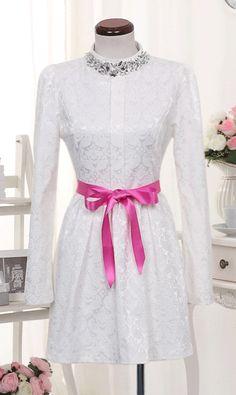 Sweet sparkling diamond nail bead slimming dress with belt white