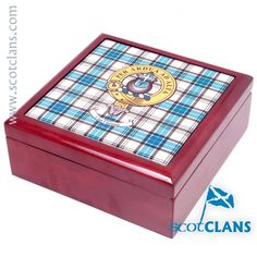 Hannay Clan Crest & Tartan Jewellery Box. Free Worldwide Shipping Available
