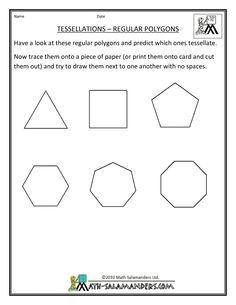 Printables Tessellations Worksheet sample tessellations worksheet pinterest shape polygon printable geometry sheets tessellation regular polygons