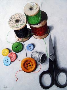Sewing Memories 2 realistic still life sewing -- Linda Apple