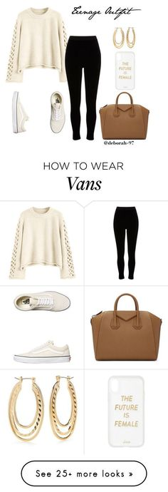 """""""Teenage Outfit 12"""" by deborah-97 on Polyvore featuring River Island, Vans, Kim Rogers, Sonix and Givenchy #teenageoutfits"""