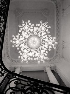 Looking up at a chandelier in Baccarat Museum, Paris... would look great as a snowflake ... inspiring