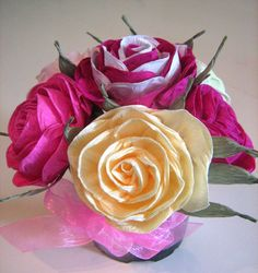 Centerpieces Crepe paper roses in pot Wedding by babyshowerflowers