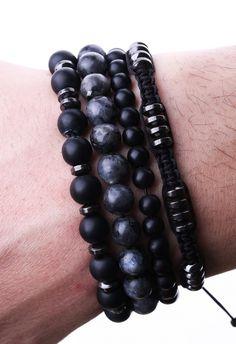 Özel Tasarım Doğal Taş, Kombin Örme Erkek Bileklik EB49 - Men Bracelet