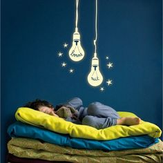 Love this glow in the dark wall decal for a kids room